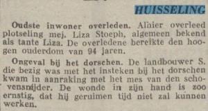 Overlijdensbericht mevrouw Liza Stoeph. Uit: Het Huisgezin, 9 oktober 1941